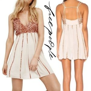 ntimately free people rose gold flowey sequin dres